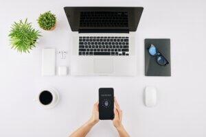 Entrepreneur scanning fingerprint