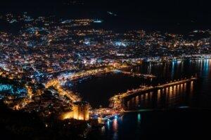 Arial view night city lights city of Turkey