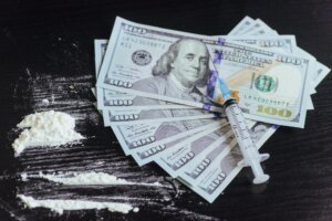 drug, dollar, money, addiction and substance abuse concept - clo