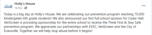 hollys house abuse program sponsorship with elementary school Indiana